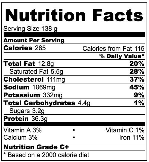 Maple Chicken Breakfast Sausage nutritional information